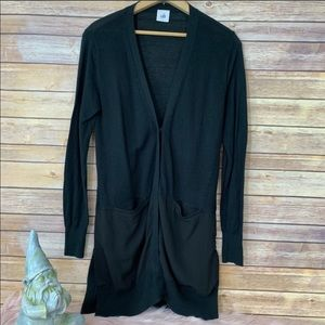 CAbi Sorrento Black Long Patch Pocket Cardigan